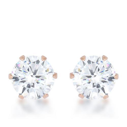 Reign 3.4ct CZ Rose Gold Stainless Steel Stud Earrings