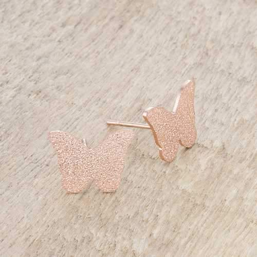 Jess Glittery Butterfly Rose Gold Stud Earrings
