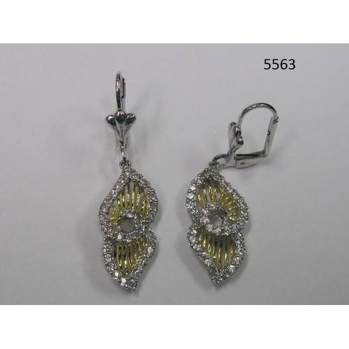 Twotone Drop Earring with CZ