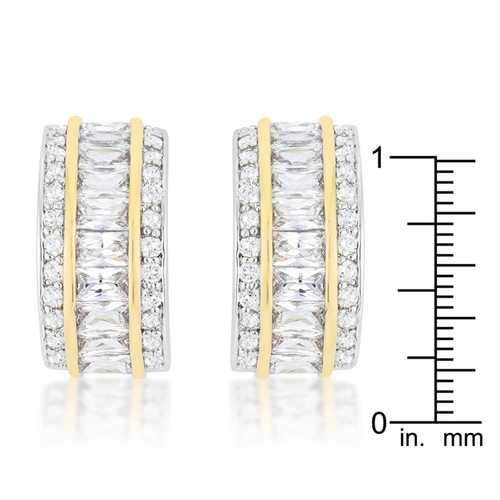 Two-Tone Three Row Earrings