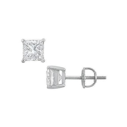 14K White Gold : Princess Cut Diamond Stud Earrings  2.00 CT. TW.