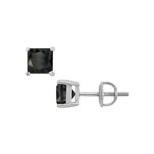 14K White Gold : Princess Cut Black Diamond Stud Earrings  4.00 CT. TW.