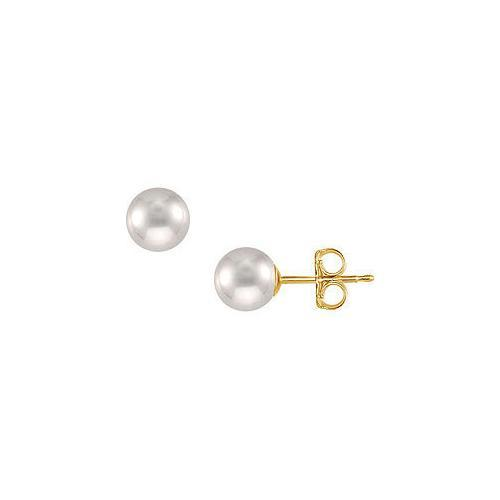 Freshwater Cultured Pearl Stud Earrings : 14K Yellow Gold  9 MM