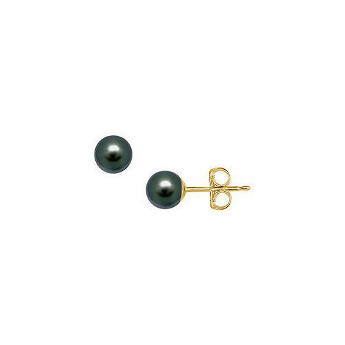 Freshwater Cultured Pearl Stud Earrings : 14K Yellow Gold  6 MM