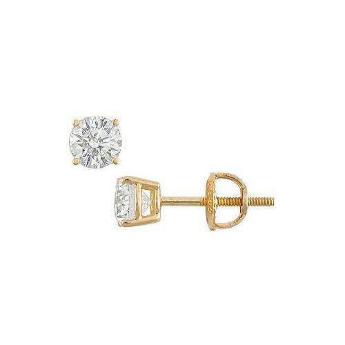 14K Yellow Gold : Round Diamond Stud Earrings  0.50 CT. TW.