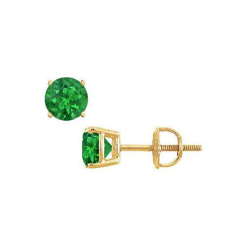 14K Yellow Gold : Prong Set Emerald Stud Earrings 1.00 CT TGW