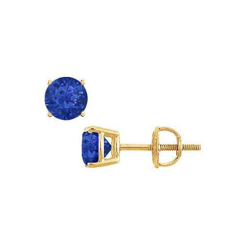 14K Yellow Gold : Prong Set Blue Sapphire Stud Earrings 1.50 CT TGW