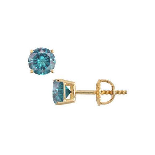 14K Yellow Gold : Blue Diamond Stud Earrings 2.00 CT TDW