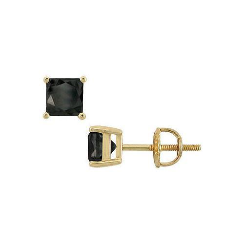 14K Yellow Gold : Princess Cut Black Diamond Stud Earrings  3.00 CT. TW.