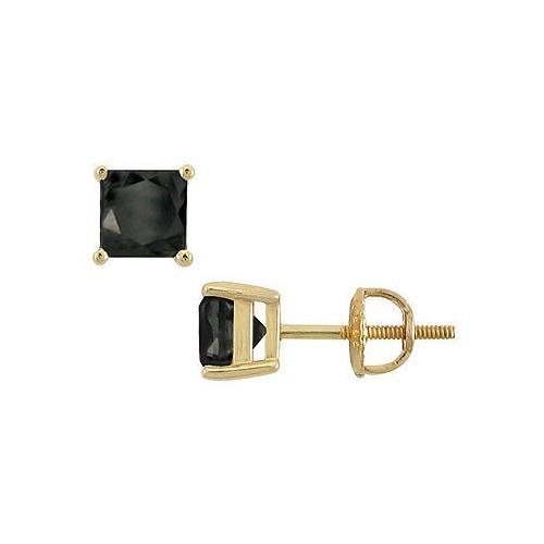 14K Yellow Gold : Princess Cut Black Diamond Stud Earrings  4.00 CT. TW.