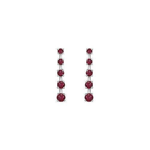 Ruby Journey Earrings : 14K White Gold - 2.00 CT TGW