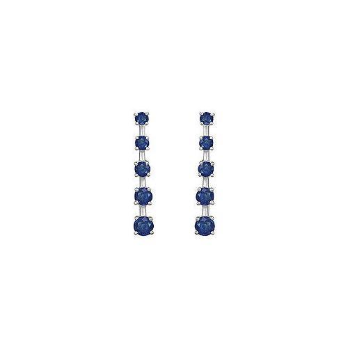 Blue Sapphire Journey Earrings : 14K White Gold - 2.00 CT TGW