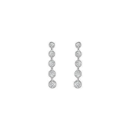 Diamond Journey Earrings : 14K White Gold - 1.00 CT Diamonds