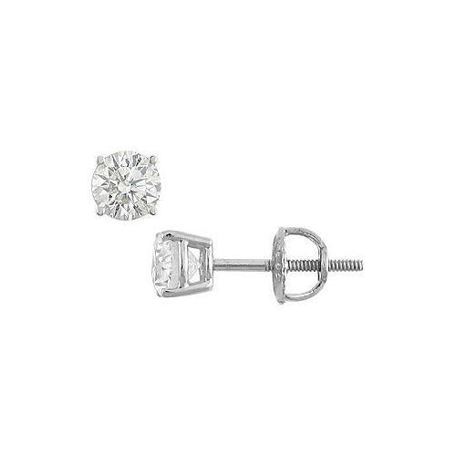 18K White Gold : 4-Prong Round Diamond Stud Earrings  0.50 CT. TW.