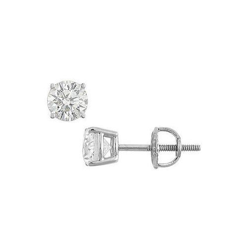 18K White Gold : Round Diamond Stud Earrings  1.00 CT. TW.