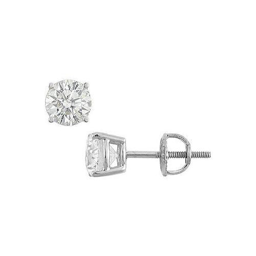 18K White Gold : Round Diamond Stud Earrings  1.75 CT. TW.