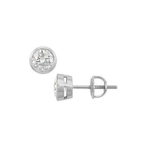 18K White Gold : Bezel Set Round Diamond Stud Earrings  1.00 CT. TW.
