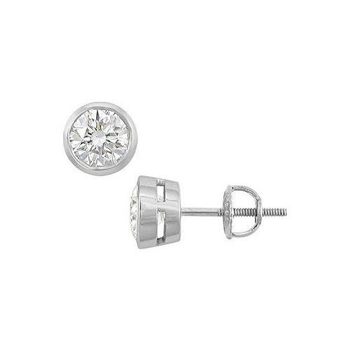 18K White Gold : Bezel Set Round Diamond Stud Earrings  2.00 CT. TW.