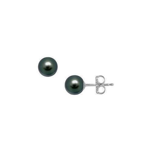 Tahitian Pearl Stud Earrings : 18K White Gold  9 MM
