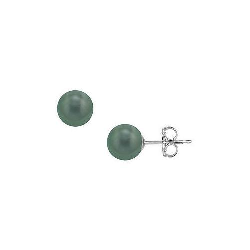 Tahitian Pearl Stud Earrings : 18K White Gold  10 MM