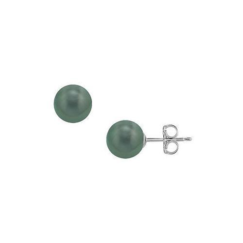 Tahitian Pearl Stud Earrings : 18K White Gold  11 MM