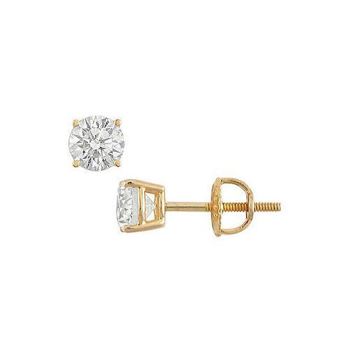 18K Yellow Gold : Round Diamond Stud Earrings  0.75 CT. TW.