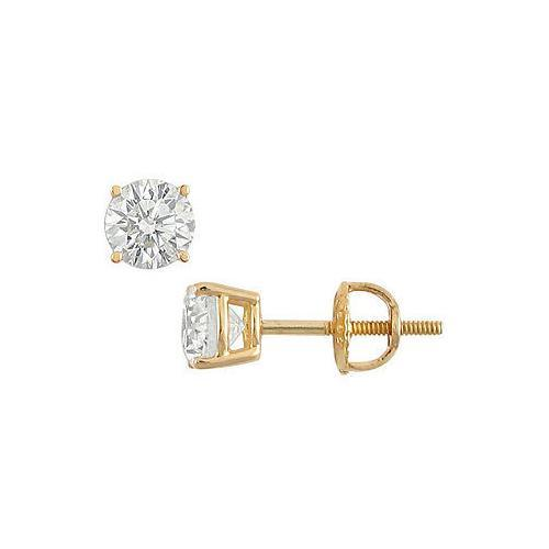 18K Yellow Gold : Round Diamond Stud Earrings  1.00 CT. TW.