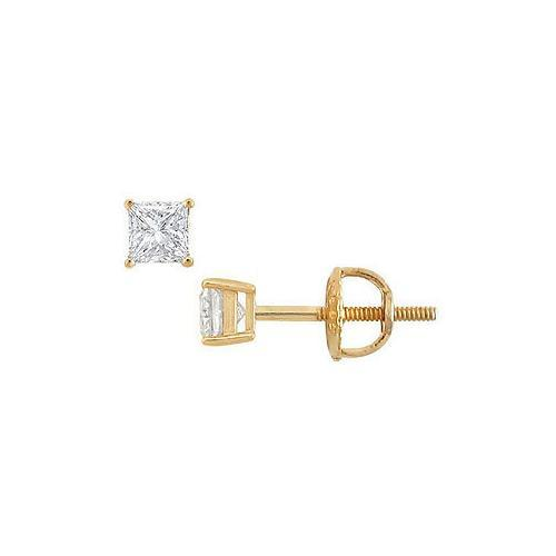 18K Yellow Gold : Princess Cut Diamond Stud Earrings  0.25 CT. TW.
