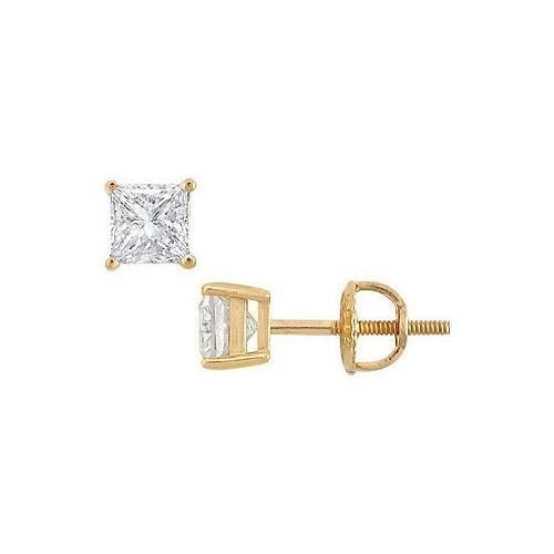 18K Yellow Gold : Princess Cut Diamond Stud Earrings  1.00 CT. TW.