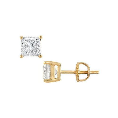 18K Yellow Gold : Princess Cut Diamond Stud Earrings  2.00 CT. TW.