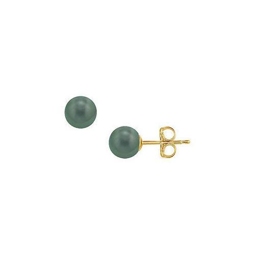 Tahitian Pearl Stud Earrings : 18K Yellow Gold  8 MM