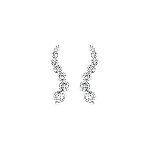 Diamond Journey Earrings : 14K White Gold - 2.00 CT Diamonds
