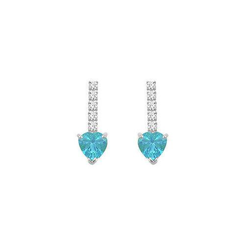Diamond and Blue Topaz Earrings : 14K White Gold - 1.25 CT TGW