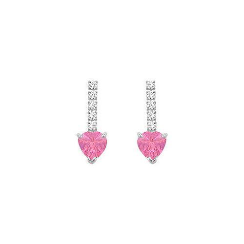 Diamond and Pink Topaz Earrings : 14K White Gold - 1.25 CT TGW