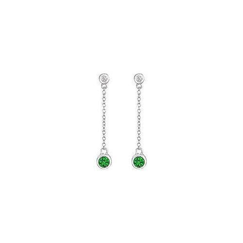 Emerald and Diamond Earrings : 14K White Gold - 0.60 CT TGW