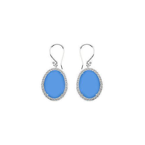 14K White Gold Blue Chalcedony and Diamond Earrings 31.00 CT TGW