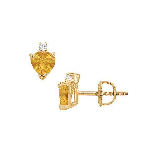Diamond and Citrine Stud Earrings : 14K Yellow Gold - 2.04 CT TGW