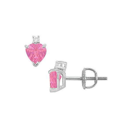 Diamond and Pink Sapphire Stud Earrings : 14K White Gold - 2.04 CT TGW