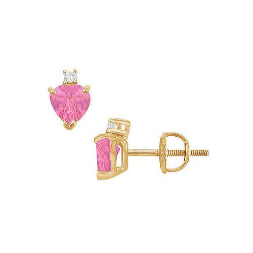 Diamond and Pink Topaz Stud Earrings : 14K Yellow Gold - 2.04 CT TGW