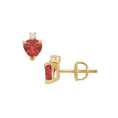 Diamond and Ruby Stud Earrings : 14K Yellow Gold - 2.04 CT TGW