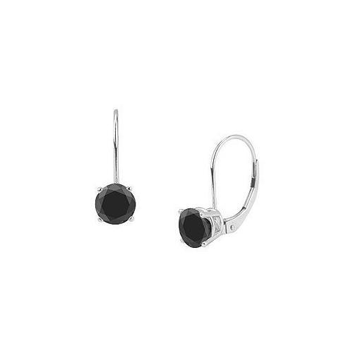 14K White Gold : Round Black Diamond Stud Earrings  2.00 CT. TW