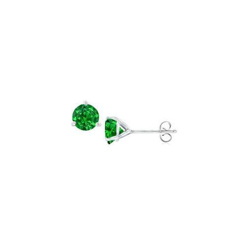 14K White Gold Martini Style Emerald Stud Earrings with 0.25 CT TGW