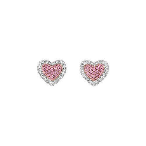 Pink Sapphire and Diamond Heart Earrings : 14K White Gold - 1.50 CT TGW