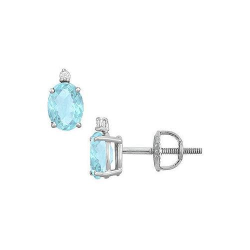 Diamond and Aquamarine Stud Earrings : 14K White Gold - 2.04 CT TGW