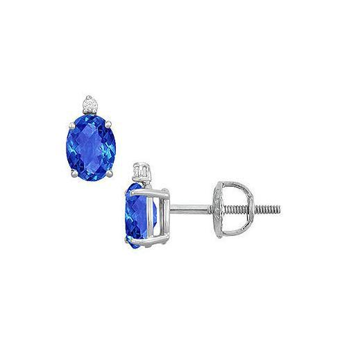Diamond and Sapphire Stud Earrings : 14K White Gold - 2.04 CT TGW