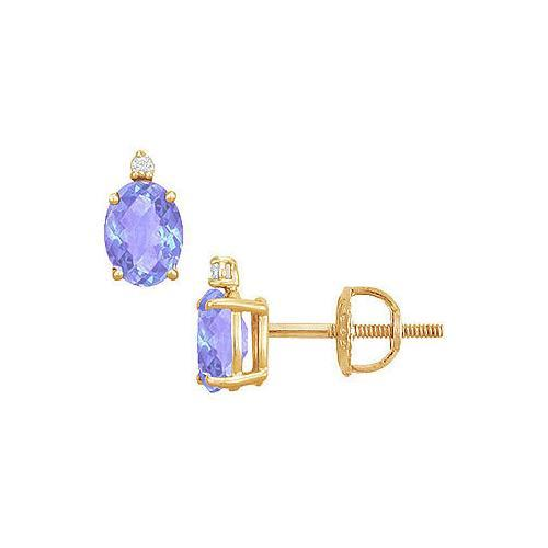Diamond and Tanzanite Stud Earrings : 14K Yellow Gold - 2.04 CT TGW