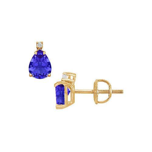 Diamond and Sapphire Stud Earrings : 14K Yellow Gold - 2.04 CT TGW