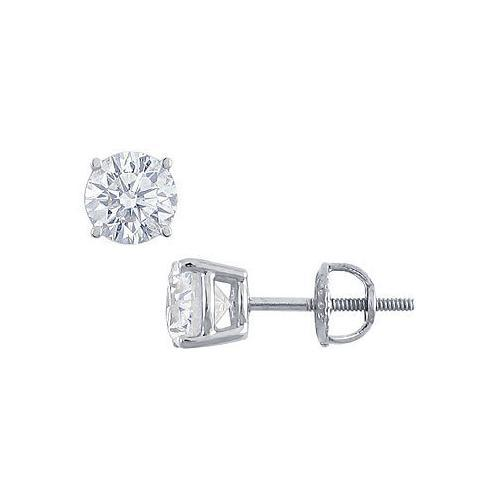 Platinum : Round Diamond Stud Earrings  2.00 CT. TW.