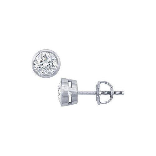 Platinum : Round Diamond Stud Earrings  1.00 CT. TW.