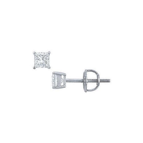 Platinum : Princess Cut Diamond Stud Earrings  0.25 CT. TW.
